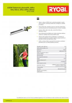 RYOBI RHT6760RL 650W Elektrický plotostřih, délka lišty 60cm, šířka střihu 30mm 5133003647 A4 PDF
