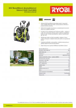 RYOBI RPW36120HI 36V Bezuhlíkový akumulátorový tlakový čistič (1x4.0Ah) 5133004298 A4 PDF
