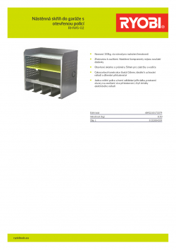 RYOBI RHWS-02 Nástěnná skříň do garáže s otevřenou policí 5132004359 A4 PDF