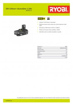 RYOBI RB18L13 18V Lithium+ akumulátor 1.3Ah 5133001904 A4 PDF