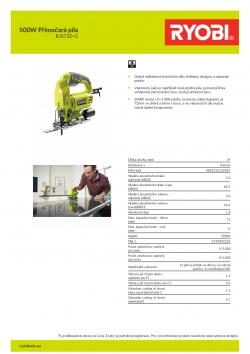 RYOBI RJS720 500W Přímočará pila 5133002223 A4 PDF