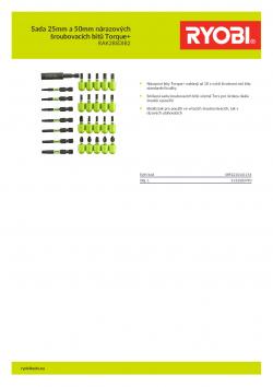RYOBI RAK28SDIB2 Sada 25mm a 50mm nárazových šroubovacích bitů Torque+ 5132003790 A4 PDF