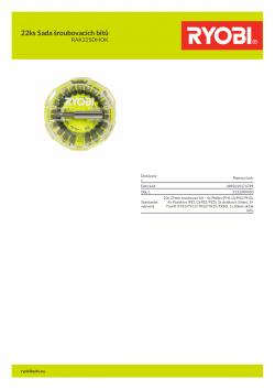 RYOBI RAK22SDHOK 22ks Sada šroubovacích bitů 5132004430 A4 PDF