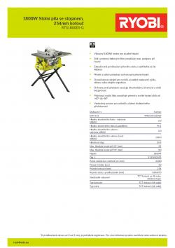 RYOBI RTS1800ES 1800W Stolní pila se stojanem, 254mm kotouč 5133002023 A4 PDF