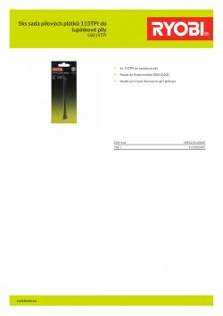 RYOBI SSB15TPI 5ks sada pilových plátků 115TPI do lupínkové pily 5132002897 A4 PDF