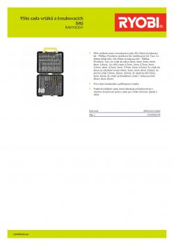 RYOBI RAK95DDF 95ks sada vrtáků a šroubovacích bitů 5132002278 A4 PDF
