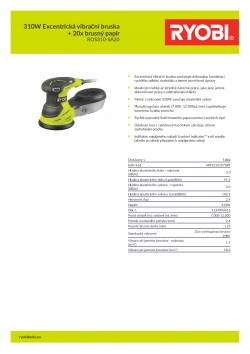 RYOBI ROS310 310W Excentrická vibrační bruska + 20x brusný papír 5133003616 A4 PDF