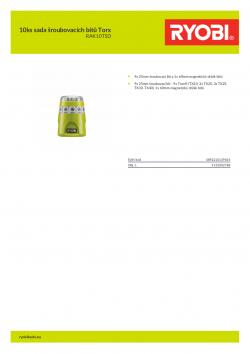RYOBI RAK10TSD 10ks sada šroubovacích bitů Torx 5132002788 A4 PDF