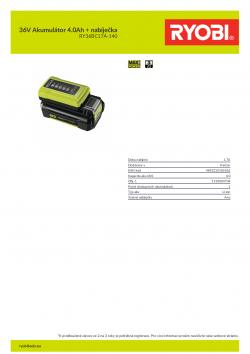 RYOBI RY36BC17A-140 36V Akumulátor 4.0Ah + nabíječka 5133004704 A4 PDF