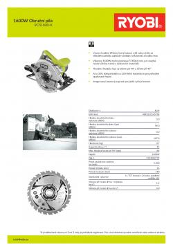 RYOBI RCS1600 1600W Okružní pila 5133002779 A4 PDF