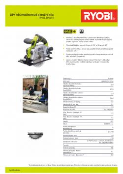 RYOBI RWSL1801 18V Akumulátorová okružní pila 5133001164 A4 PDF