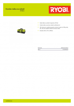 RYOBI RTB01 Kombo taška na nářadí 5132003674 A4 PDF