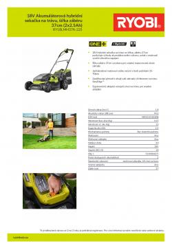 RYOBI RY18LMH37A 18V Akumulátorová hybridní sekačka na trávu, šířka záběru 37cm (2x2.5Ah) 5133004671 A4 PDF