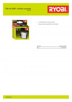RYOBI RHVF Filtr do ONE+ ručního vysavače 5132004210 A4 PDF