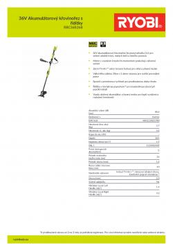 RYOBI RBC36X26B 36V Akumulátorový křovinořez s řídítky 5133002405 A4 PDF
