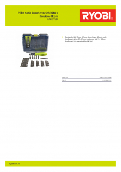 RYOBI RAK59SD 59ks sada šroubovacích bitů s šroubovákem 5132002251 A4 PDF