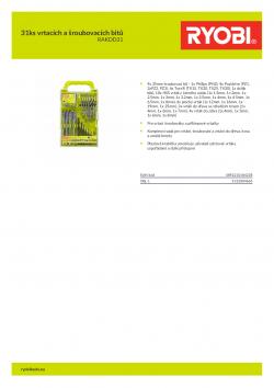 RYOBI RAKDD31 31ks vrtacích a šroubovacích bitů 5132004663 A4 PDF