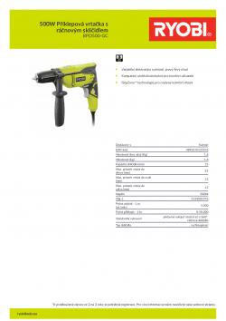 RYOBI RPD500 500W Příklepová vrtačka s ráčnovým sklíčidlem 5133001976 A4 PDF