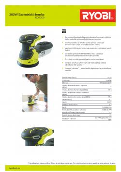 RYOBI ROS300 300W Excentrická bruska 5133001144 A4 PDF
