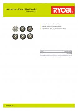 RYOBI RAK6AGD125 6ks sada do 125mm úhlové brusky 5132003149 A4 PDF