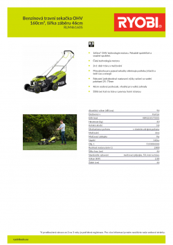 RYOBI RLM46160S Benzínová travní sekačka OHV 160cm³, šířka záběru 46cm 5133004344 A4 PDF
