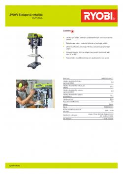 RYOBI RDP102L 390W Sloupová vrtačka 5133002855 A4 PDF