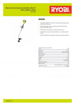 RYOBI RLT26C Benzinová strunová sekačka 26cm³, šířka záběru 43cm 5133002354 A4 PDF