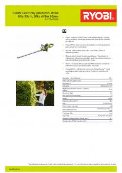 RYOBI RHT5655RS 550W Elektrický plotostřih, délka lišty 55cm, šířka střihu 26mm 5133003643 A4 PDF