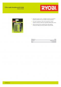 RYOBI RAK21MSD 21ks sada šroubovacích bitů 5132003304 A4 PDF