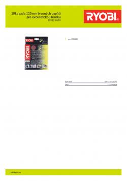 RYOBI RO125 10ks sada 125mm brusných papírů pro excentrickou brusku 5132002608 A4 PDF