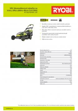 RYOBI RY18LMX40A 18V Akumulátorová sekačka na trávu, šířka záběru 40cm (1x5.0Ah) 5133004585 A4 PDF