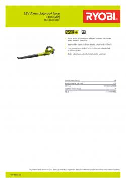 RYOBI RBL1820S 18V Akumulátorový fukar (1x4.0Ah) 5133004180 A4 PDF
