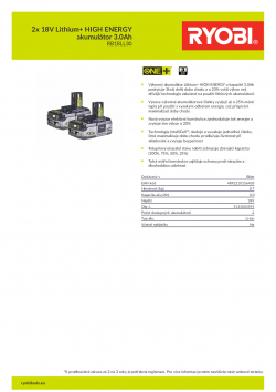 RYOBI RB18LL30 2x 18V Lithium+ HIGH ENERGY akumulátor 3.0Ah 5133003591 A4 PDF