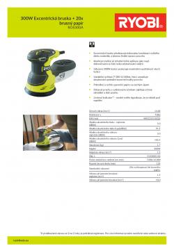 RYOBI ROS300 300W Excentrická bruska + 20x brusný papír 5133001142 A4 PDF