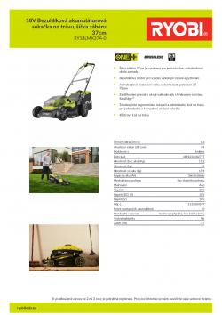 RYOBI RY18LMX37A 18V Bezuhlíková akumulátorová sekačka na trávu, šířka záběru 37cm 5133004597 A4 PDF