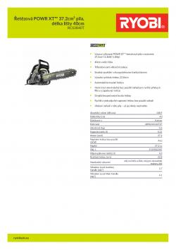 RYOBI RCS3840T Řetězová POWR XT™ 37.2cm³ pila, délka lišty 40cm 5133002387 A4 PDF