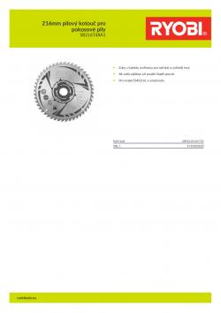 RYOBI SB216T48A1 216mm pilový kotouč pro pokosové pily 5132002620 A4 PDF
