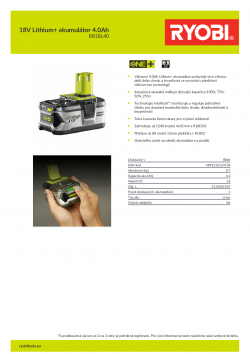 RYOBI RB18L40 18V Lithium+ akumulátor 4.0Ah 5133001907 A4 PDF
