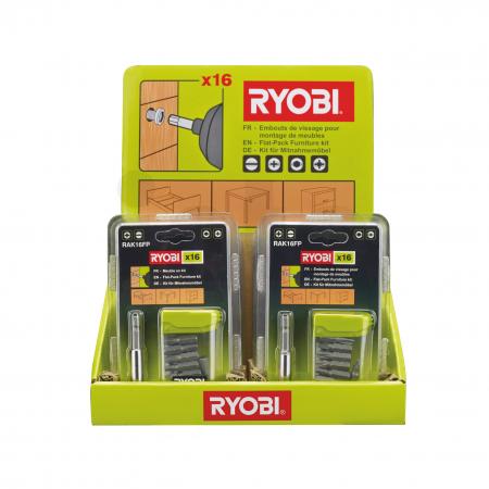 RYOBI RAK16FP 16ks skladná sada šroubovacích bitů na nábytek 5132002679