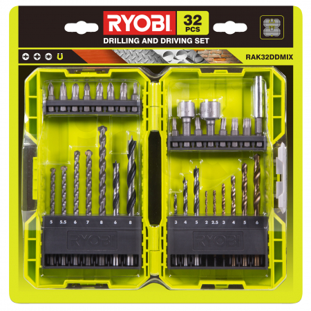 RYOBI RAK32DDMIX 32ks smíšená sada vrtacích a šroubovacích bitů 5132004425