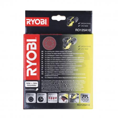 RYOBI RO125 10ks sada 125mm brusných papírů pro excentrickou brusku 5132002608